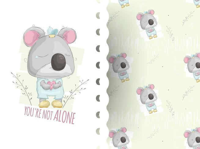 Cartoon stijl illustratie van teddy Koala huilen met patroon