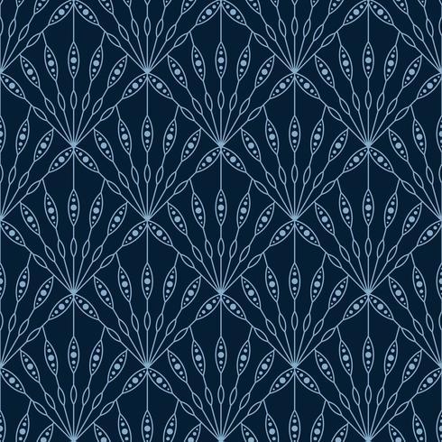floral fan seamless art deco geometric pattern