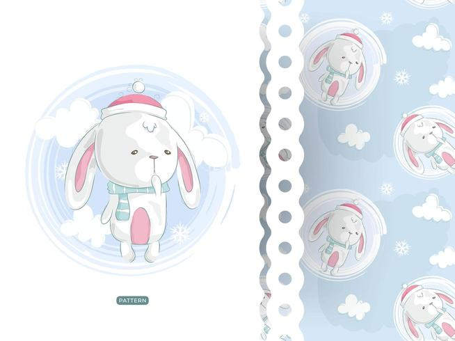 Cute rabbit wearing santa hat card with pattern
