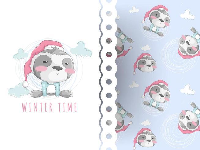 Cute teddy sloth cartoon and christmas pattern