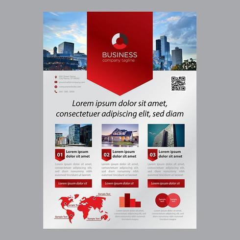 Moderne rode banner vorm één pagina zakelijke brochure sjabloon