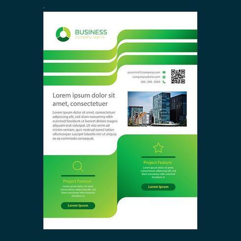 Grön vågig linje design mall för broschyr