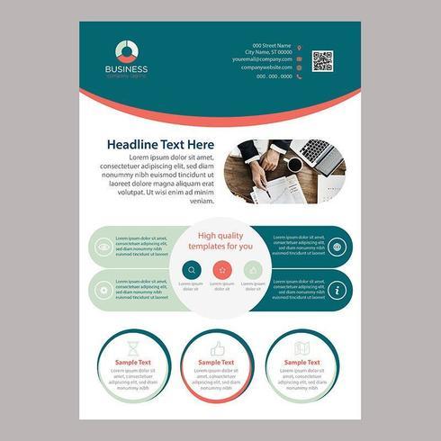 Modello dell'opuscolo di affari di una pagina arrotondato colorato vettore