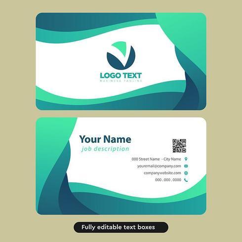 Plantilla de tarjeta de visita - resumen verde ondas redondeadas