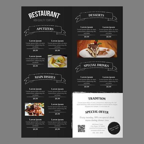 Modello modificabile del menu di cibo del ristorante con striscioni tratto pennello ruvido
