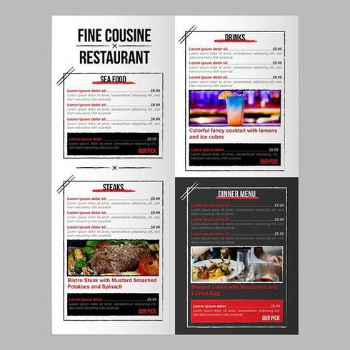 Editable Food Restaurant Menu Template with Brush Stroke Boxes vector