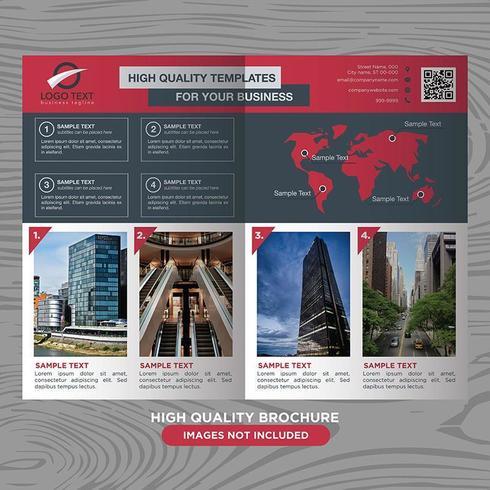Modelo de Brochura - negócios seccionados em vermelho cinza vetor