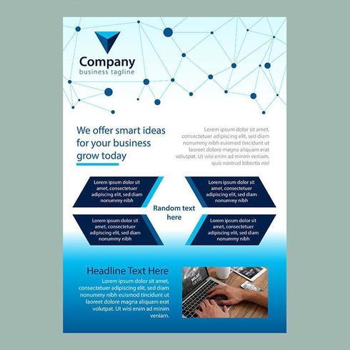 Modèle de brochure d'entreprise bleu moderne avec lignes et points connectés vecteur
