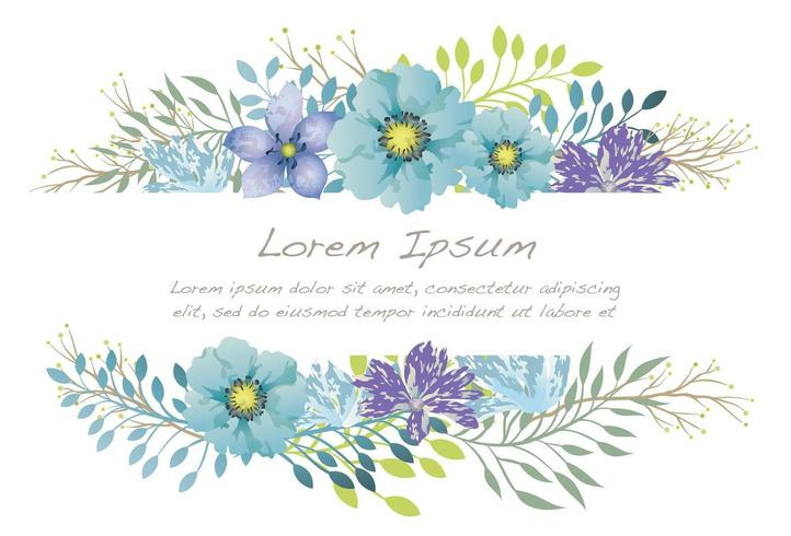 Watercolor flower background illustration with text space. vector