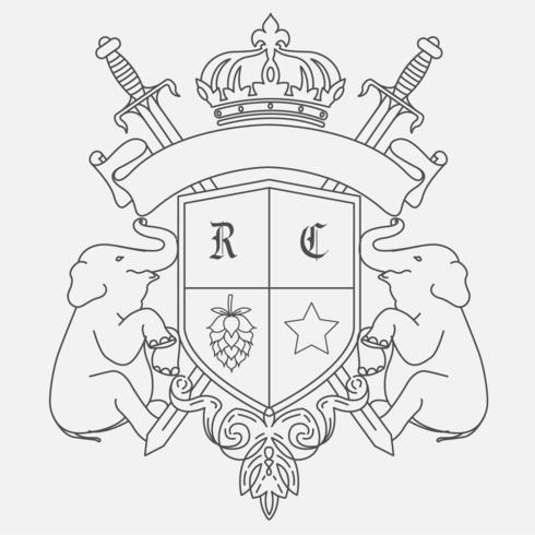 Diseño del escudo de armas con dos elefantes. vector