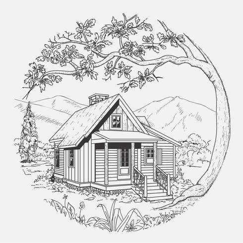 Cabana de madeira mão ilustrações desenhadas