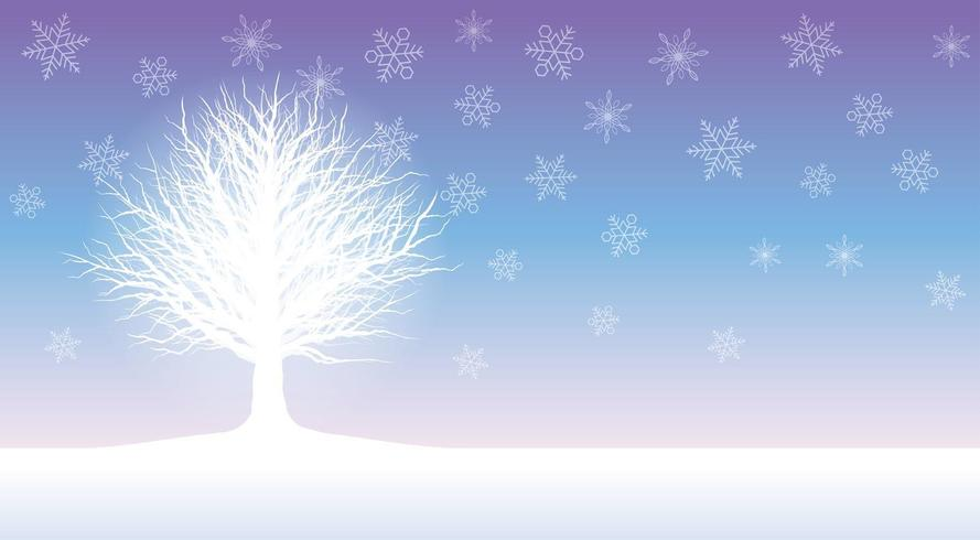 Seamless winter field illustration with a rimed tree.