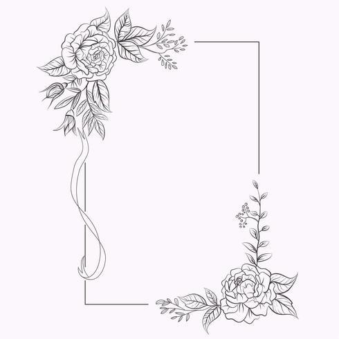 Cadre avec des fleurs dans les coins pour invitation de mariage