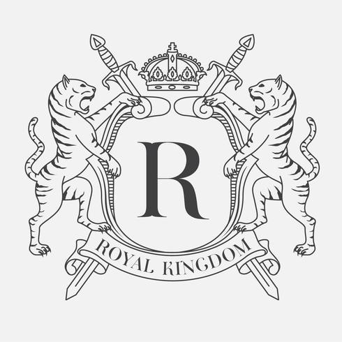 Wappen der heraldischen Schildfamilie mit zwei Tigern