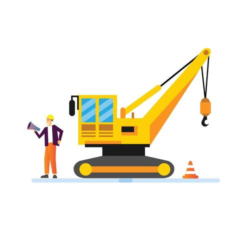 A man with construction vehicle vector
