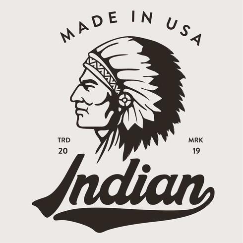Testa indiana fatta nel disegno della maglietta USA vettore