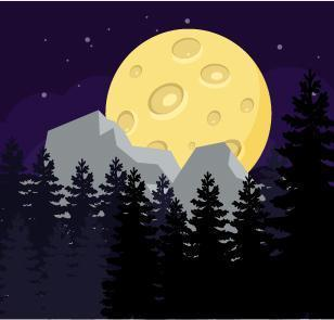 The Big Moon Over The Mountains