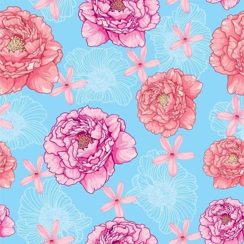 Nahtloses Muster von Pfingstrosen auf einem blauen Hintergrund