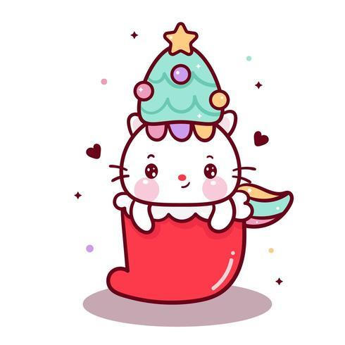 Cute cat  wearing tree hat in Christmas Sock  vector