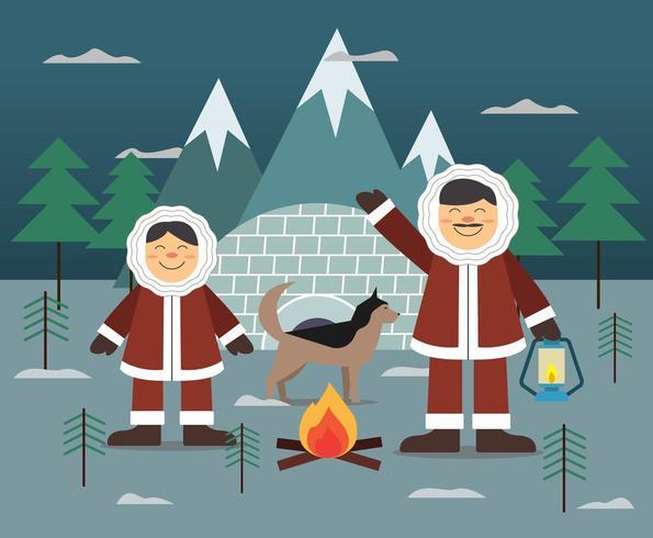 The Eskimos lifestyle with igloo