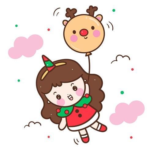 Cute Santa girl vector holding reindeer balloon