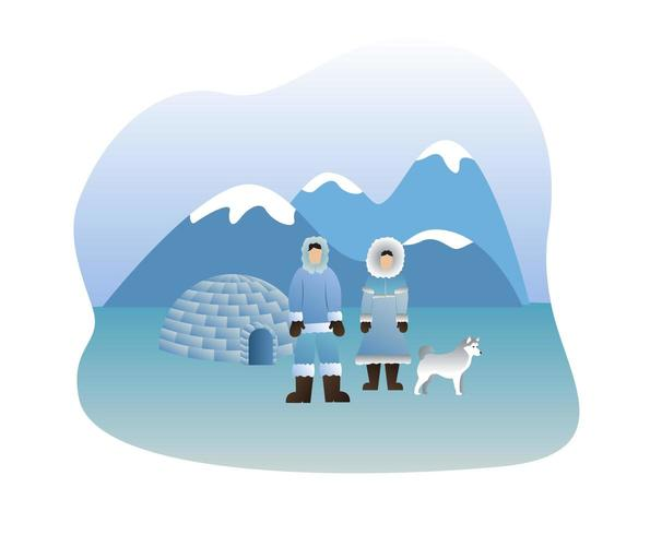 Eskimos lifestyle vector