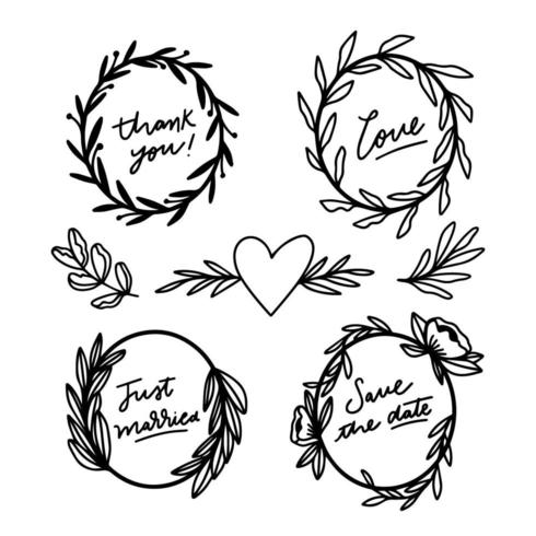 Cute Floral Frame Collection With Lettering About Wedding