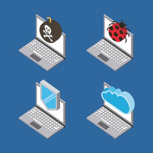 set of laptop devices with virus attack, cloud computing, storage isometric icons vector