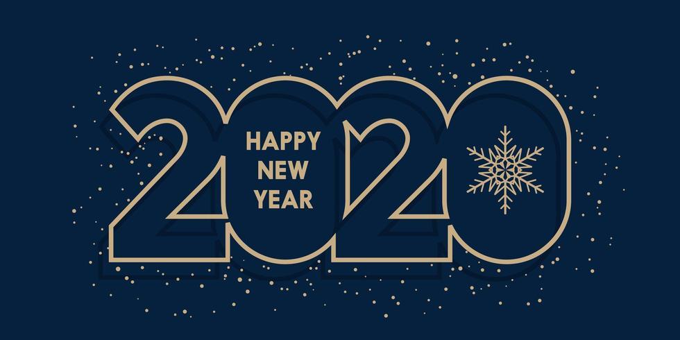 Happy New Year minimalist banner design vector