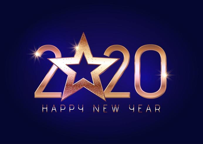 Happy New Year 2020 background with gold lettering  vector