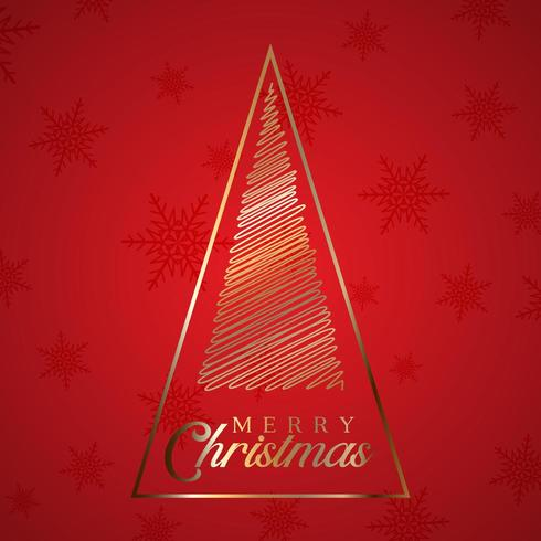 Scribble christmas tree background vector
