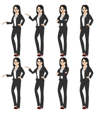 Illustrationsvektorbild av alla 8 affärskvinnor.