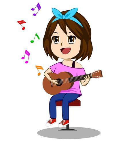 Schattig meisje gitaarspelen