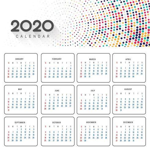 Bellissimo calendario 2020 in colorato design punteggiato