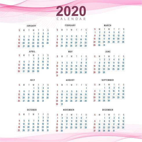 Clean 2020 calendar template beautiful wave design vector