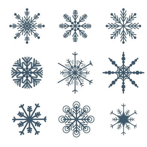 Hermosos copos de nieve set vector elementos