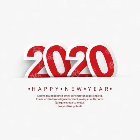 Bella carta tagliata di carta per il nuovo anno 2020