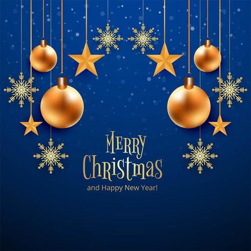 Hermosa tarjeta azul feliz Navidad vector