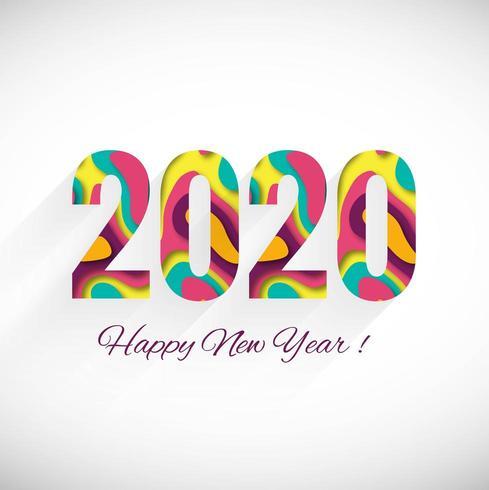 Cartolina d'auguri di felice anno nuovo 2020 vacanze invernali vettore