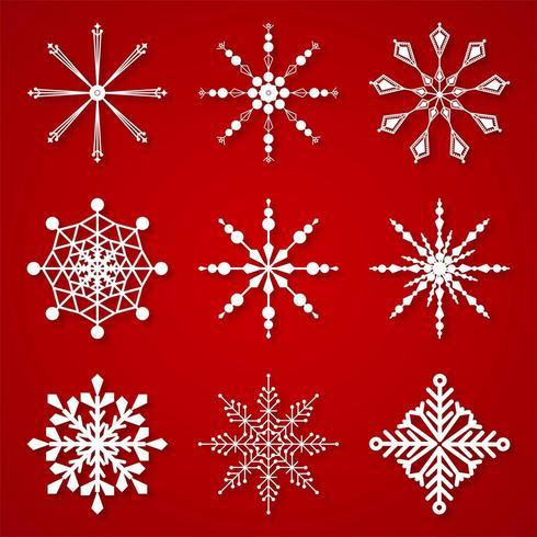 Hermosos copos de nieve de invierno establecen elementos vector