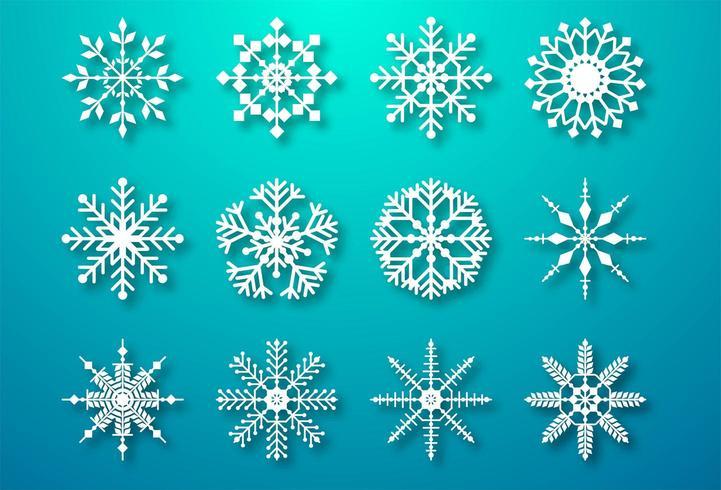 Los copos de nieve decorativos de Navidad establecen elementos