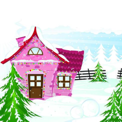 Pink House on Snow Day