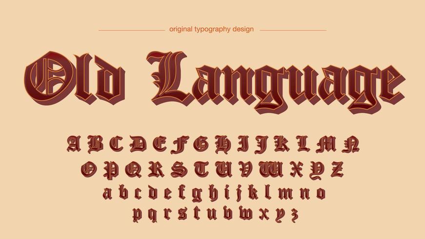 Tipografía Old Script Red Shadows vector