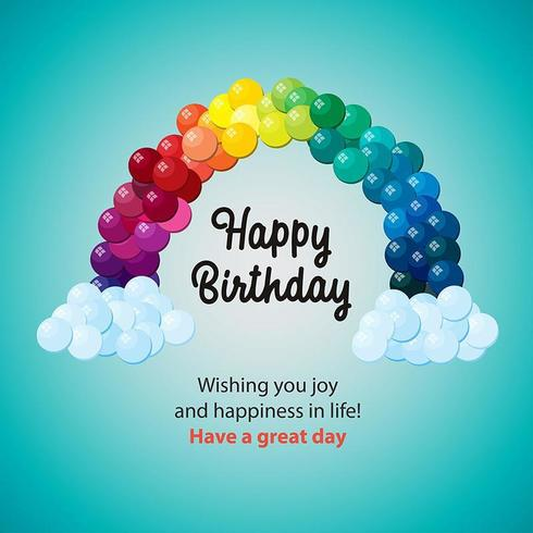 Feliz cumpleaños globo diseño del arco iris vector