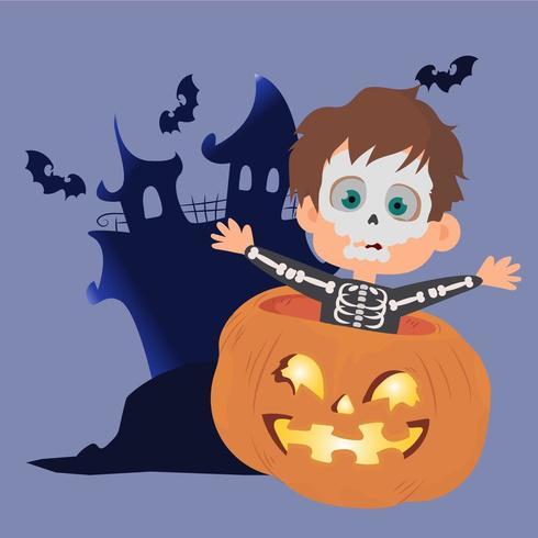 Niño de Halloween con disfraz de calavera dentro de una calabaza vector