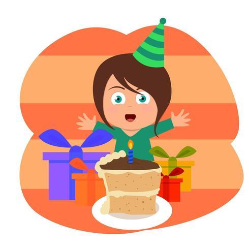Criança feliz em uma festa de aniversário com bolo de vela