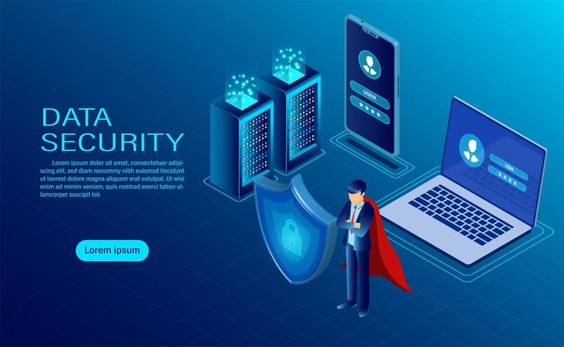 banner with hero protecting data on computer and mobile