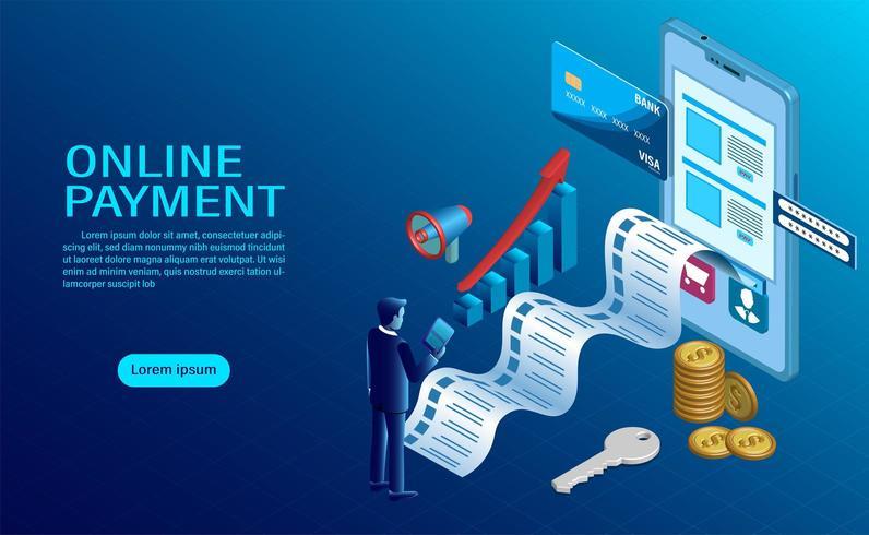 pagamento online com celular. proteção do dinheiro nas transações com celulares. vetor