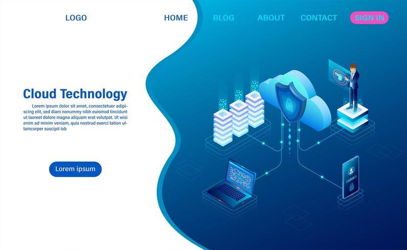 Conceito de tecnologia de computação em nuvem. Serviço ou aplicativo digital com transferência de dados