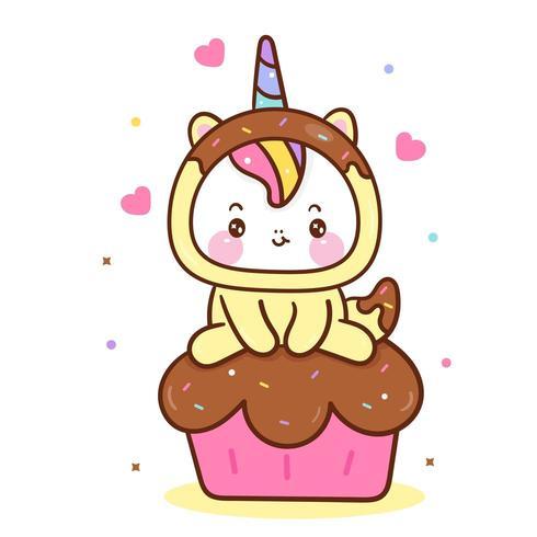 Vettore dell'unicorno di Kawaii sul bigné dolce del muffin